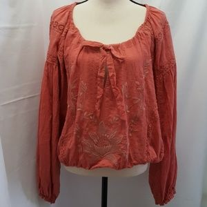 Free People Women's Peach Blouse Size:S